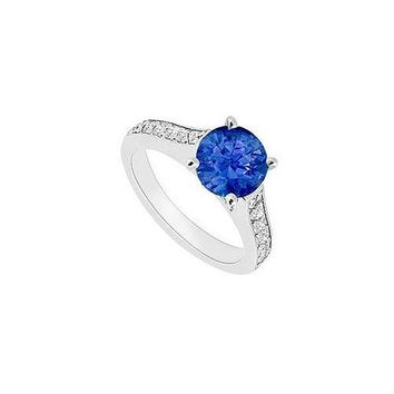 14K White Gold : Blue Sapphire and Diamond Engagement Ring 0.80 CT TGW