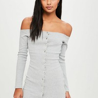 Missguided - Grey Popper Bardot Mini Dress