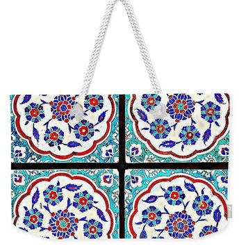 An Ottoman Iznik Style Floral Design Pottery Polychrome, By Adam Asar, No 14a - Weekender Tote Bag