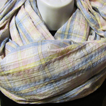 Pastel Plaid Infinity Scarf with Gold Accent by GBSCreations