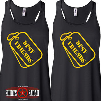 Women's Best Friends Tank Tops - Dog Tag Shirts - Besties Matching Top Ladies Military Style Shirt
