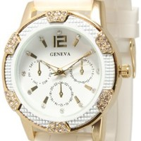 White and Gold Crystal Rhinestone Geneva Faux Chronograph Rubber Jelly Watch