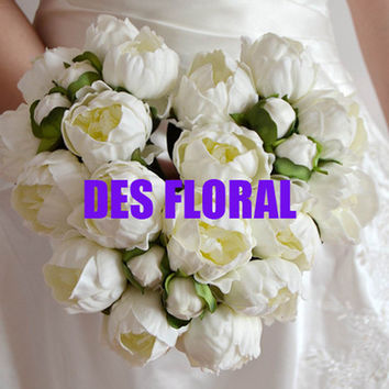 Artificial Fake flowers Vintage 28CM Ivory/Cream Real Touch Peony Bouquets Bridal Wedding Bouquet for Centerpiece Decoration