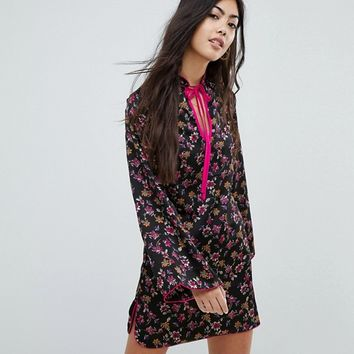 Glamorous Petite Long Sleeve Shift Dress With High Collar In Grunge Floral at asos.com