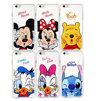 Kawaii Cute Soft TPU Case for Apple iPhone 4 4s 5 5s 6 6s plus or samsung s6 s7 edge plus Phone Cases Cover coque Minnie Mickey