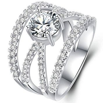 Solitaire Cubic Zirconia X Criss Cross Statement Ring For Women Rhodium Plated Vintage Style Size 59