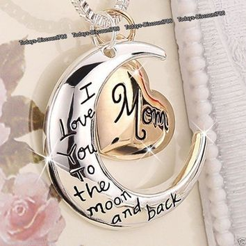 ( Mom Dad Brother Son aunt Uncle Sister Daughter Grandma Grandpa)Necklaces Silver Xmas Gifts For Her Mum Mother Women Gold Rose