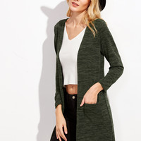 Dark Green Long Cardigan