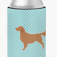 Golden Retriever  Checkerboard Blue Can or Bottle Hugger BB3704CC