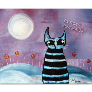 Cat Illustration on paper - gift for pet lovers,Acrylic paint & watercolors - funny cats - cat decor, animals,