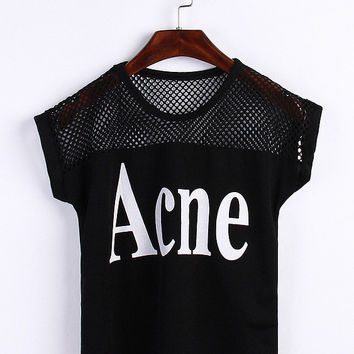 Graphic Print Mesh Embroidered Short Sleeve Cropped Top