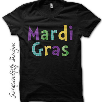 Mardi Gras Shirt - Kids Mardi Gras Clothing / Toddler Boys Colorful Tshirt / Womens New Orleans Shirt / Baby Mardi Gras T Shirt / Black Tee