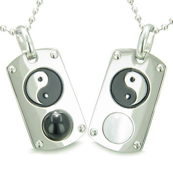 Yin Yang Love Couple Magic Amulets Dog Tags Simulated Onyx White Cats Eye Pendant Necklaces
