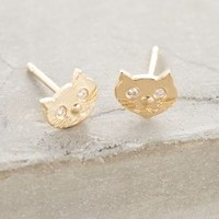 Victoria Cunningham White Diamond Feline Posts in Gold Size: One Size Earrings