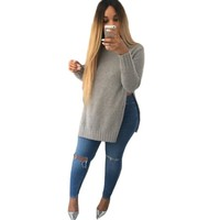 fall fashion sweater with side split
