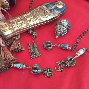 Egyptian Jewelry in bronze necklace/Free Shipping