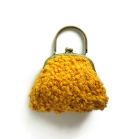 Yellow Bag Purse Knitted in Cotton with Brass Handles