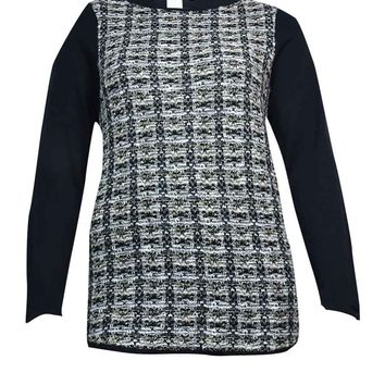 Charter Club Women's Tweed-Front Long Sleeves Sweater