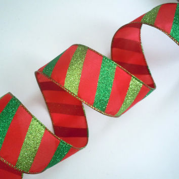"wired Christmas ribbon Sparkle Dark Green Lime Green Stripes Candy Cane Red Christmas Ribbon wreaths make Christmas Tree Ribbon 2.5"" 5yd"