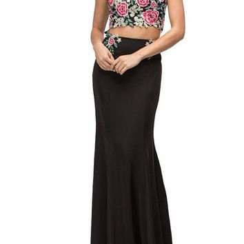 Black floral dress & crop top prom dress DQ9796 - CLOSEOUT