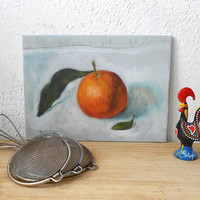 Orange Painting primitives country decor
