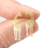 Mother and Baby Giraffe Silhouette Shaped Stud Earrings in Gold | Allergy Free