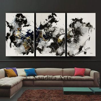 Black and white wall art abstract painting minimalist art modern home decor original painting on canvas by Nandita Albright 72x36in/183x92cm