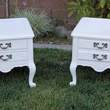 Vintage Nightstands Painted Snow White High gloss By Foo Foo La La