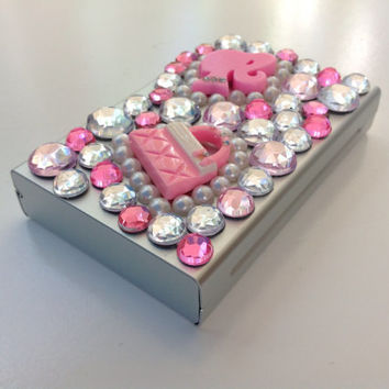 Pink Girly Jeweled Cigarette Case by SmokingGirlCouture on Etsy