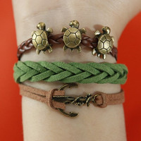 Bracelet--antique bronze anchor and longevity turtle bracelet&flocking leather braided flocking leather bracelet