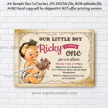 Birthday Invitation for any age, vintage baby boy, Whimsical retro vintage chic cute baby 1st 2nd 3rd girl first birthday - card 714