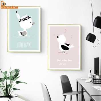 Cute Duck Chicken Wall Art Canvas Painting Nordic Posters And Prints Cartoon Animals Pop Art Wall Pictures Baby Kids Room Decor