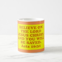 Bible verse from Acts 16:31. Coffee Mug