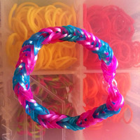 Pink and Blue Shimmer Fishtail Rubber Band Bracelet