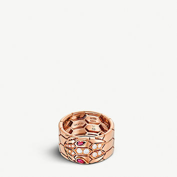 BVLGARI Serpenti Seduttori 18kt pink-gold, rubellite and diamond ring