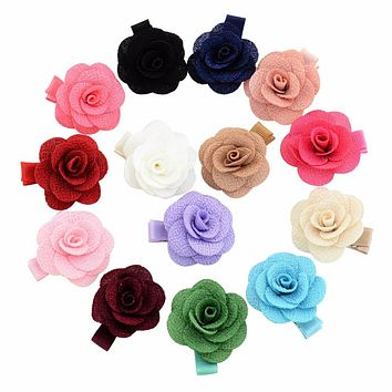 14Pcs/lot Colorful Flower Small clip kids Hair clip With ribbon wrap Floral Clips Bow-knot hair pins Girls Hair Accessories 803