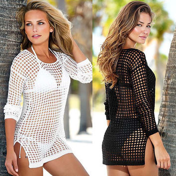 Beach Tunic Dress Beachwear Swimsuit Sexy Ladies Hand Crochet Hollow Swimwear Beach Shirt Bikini Cover Up Dresses