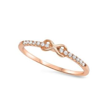 Sterling Silver Rose Gold Plated Dainty CZ Infinity Ring