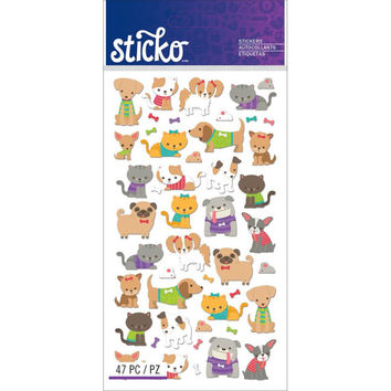 Tiny Cats & Dogs Sticker • Tiny Cats and Dogs Sticker (2 Packs) Scrapbooking • Papercraft • Pet Lover • Cat Sticker • Dog Sticker (52-01275)