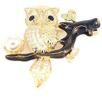18k Goldplated Brooch Pins Classic Stars and Crescent Dragonfly Owl Pattern Breastpins with Pearl CZ