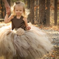 Pixie tutu dress..Chocolate brown satin Bodice...Brown and  Champagne skirt...Flower Girl Dress..Vintage Photography Prop