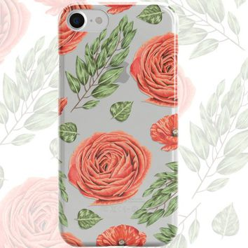 iPhone 8 Case Clear iPhone 8 Plus Case iPhone X Case iPhone 7 Plus case Clear iPhone 7 Case iPhone 6 Case Samsung S8 Case,Red Roses
