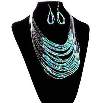 Jewelry Multicolor Multi-layer Resin Beads Necklaces and Earrings Set