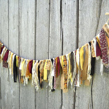 Autumn Fabric Garland, Thanksgiving Display, 6 Ft Party Decoration, Photo Prop Backdrop