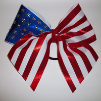 3in American Flag Cheer Bow by BowsByTeri on Etsy