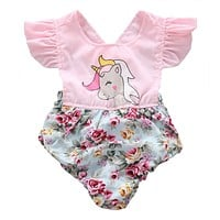 Cute Floral Unicorn bodysuits Summer Toddler Baby Girls bodysuits Sunsuits Jumpsuit Outfits