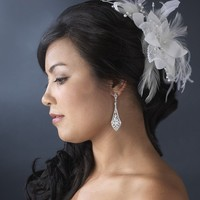Feather Fascinator with Sequence Bugle Beads Bridal Hair Piece