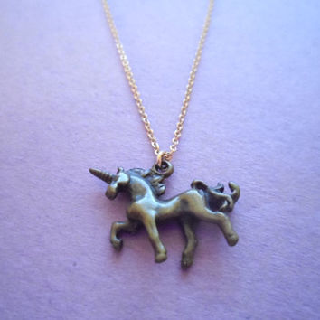 Unicorn - small cute antique brass unicorn on goldfilled chain