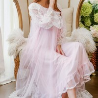 RenYvtil 2018 Spring Summer Princess Lace Pyjamas Women's Long Nightgowns 2 Pieces Lingerie Set Bathrobe Gauze Sleepwear