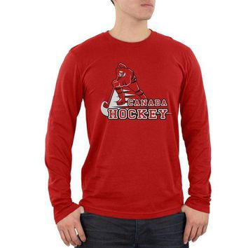 ONETOW Fast Hockey Player Country Canada Mens Soft Long Sleeve T Shirt